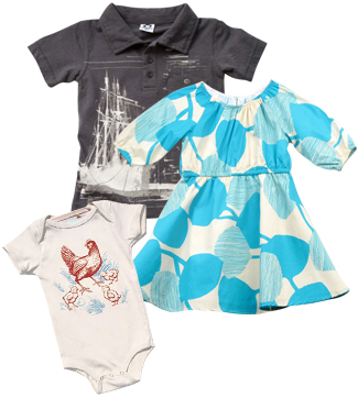 Black Wagon Appaman Ship Polo, Black Wagon Stun Wonderland Dress, Little Lark Chickens Organic Onesie.