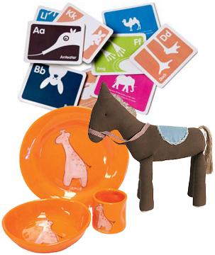 A-Z Flashcards, Large Corduroy Horse, Ceramic Giraffe Dinner Set.