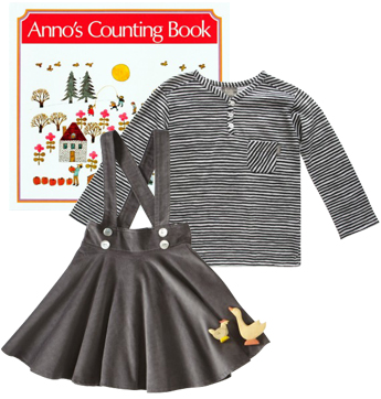 Anno's Counting Book,  Velvet & Tweed Wool Suspender Skirt, ESP No.1 Shirt.
