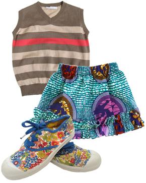 Super Sky Birds Ruffle Skirt, BensimonLiho Stripy Vest, & Liberty Print Floral Lacet