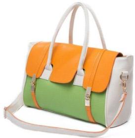 Safiya Orange Green Satchel
