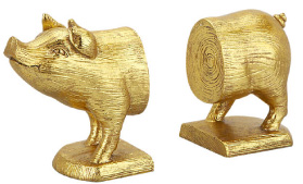 Gold Pig Bookends