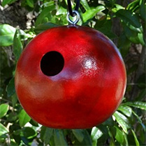 Cannonball Gourd Bird House Red