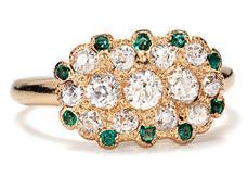 The Three Graces Art Deco Envy: Emerald Diamond Ring