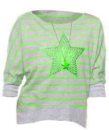 Beautees Neon Dolman Necklace Top