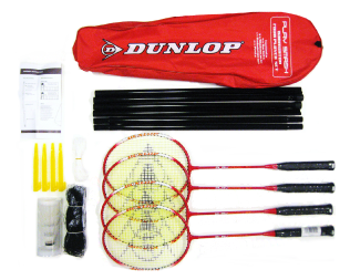 Dunlop Play Smash 4 Player Badminton Set