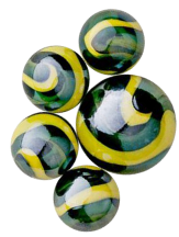 Green and Yellow swirled 'Iguana Marbles' from Land of marbles