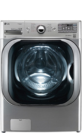 LG - 5.1 Cu. Ft. 14-Cycle Mega Capacity High-Efficiency Steam Front-Loading Washer - Graphite Steel