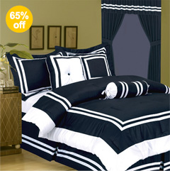 7Pcs Full Hotel Collection Block Bed in a Bag Comforter Set Navy